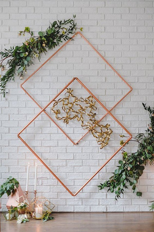 vintage geometric wedding backdrop ideas