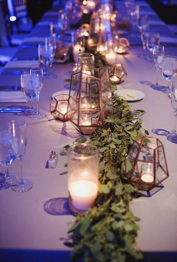 wedding reception table decoration ideas with geometrics