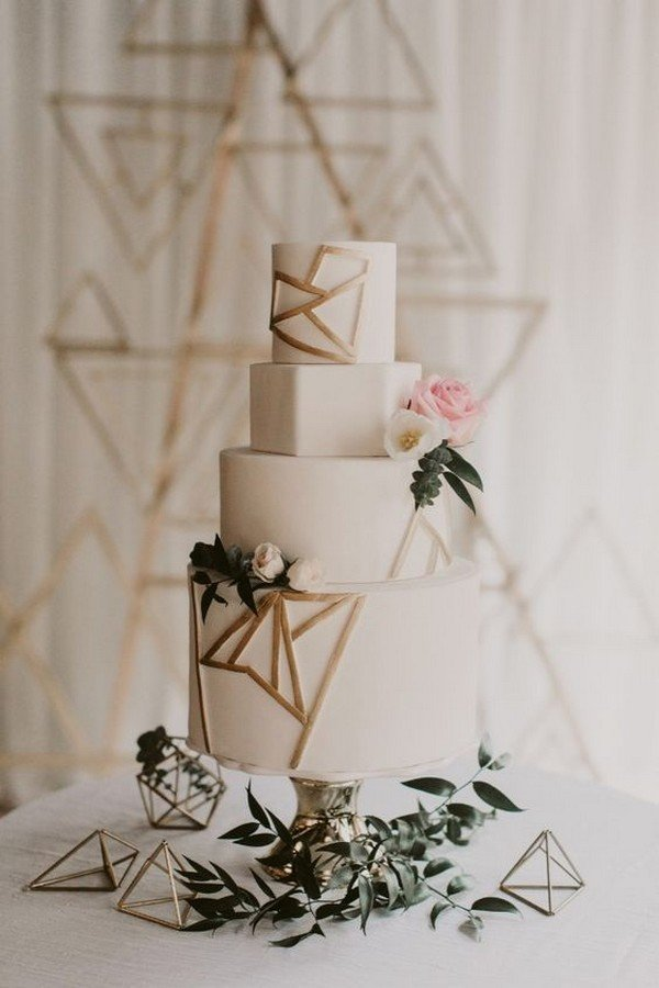 white and gold chic geometric wedding cake