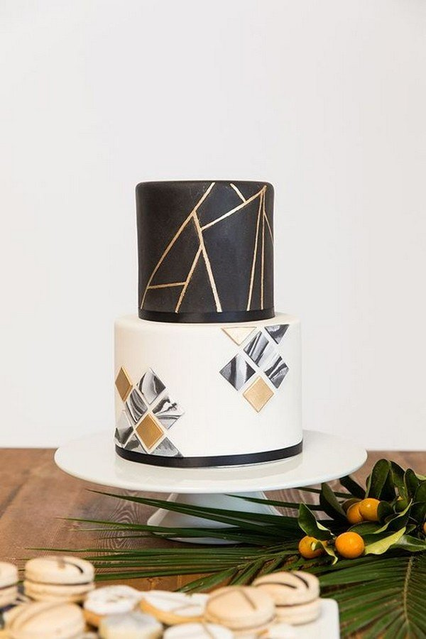 white black and gold geometric wedding cake