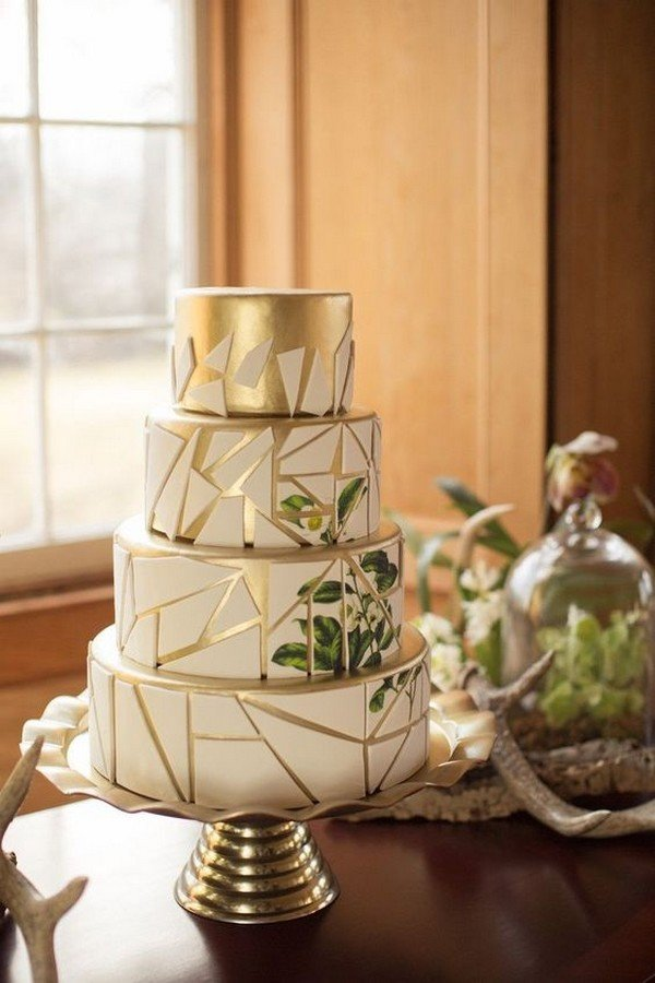 white gold and greenery geometric wedding cake