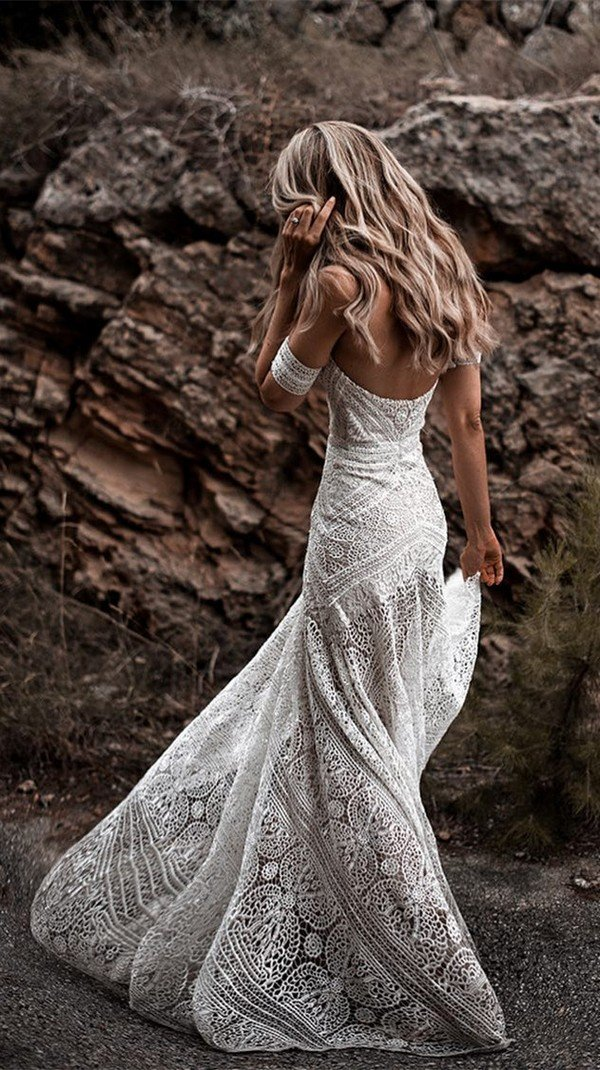 Ash off the shoulder lace wedding dress Rue De Seine