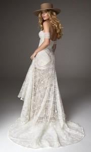 Ash off the shoulder lace wedding dress back view Rue De Seine