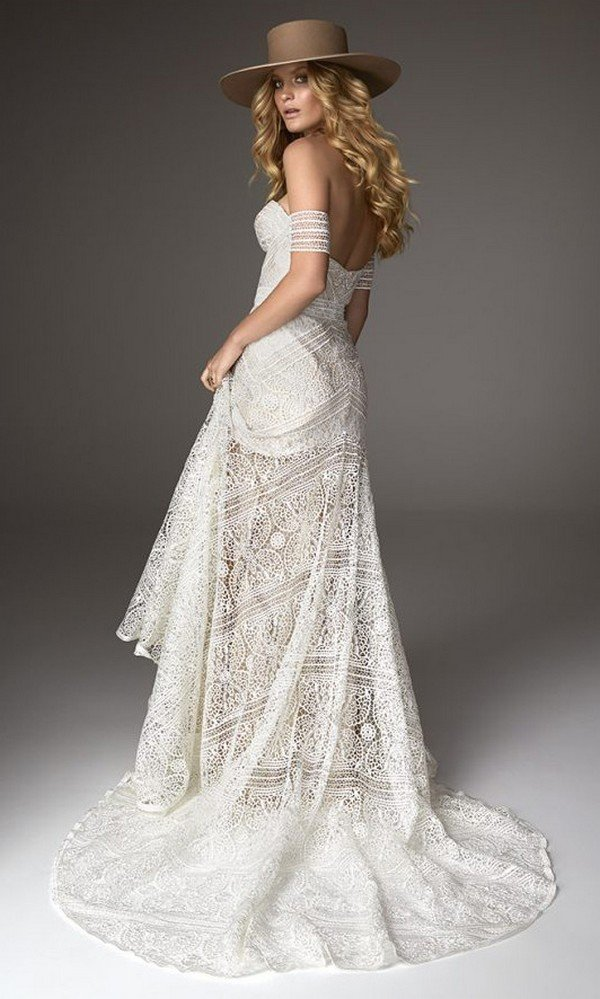 Ash off the shoulder lace wedding dress back view Rue De Seine