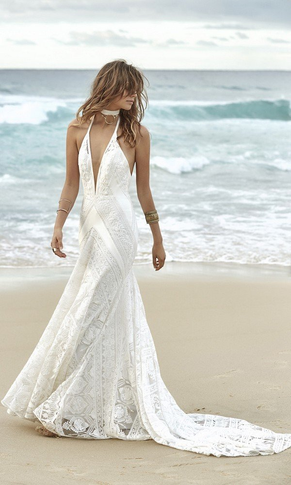 Boho lace wedding dress Cosmic Coralee from Rue De Seine front
