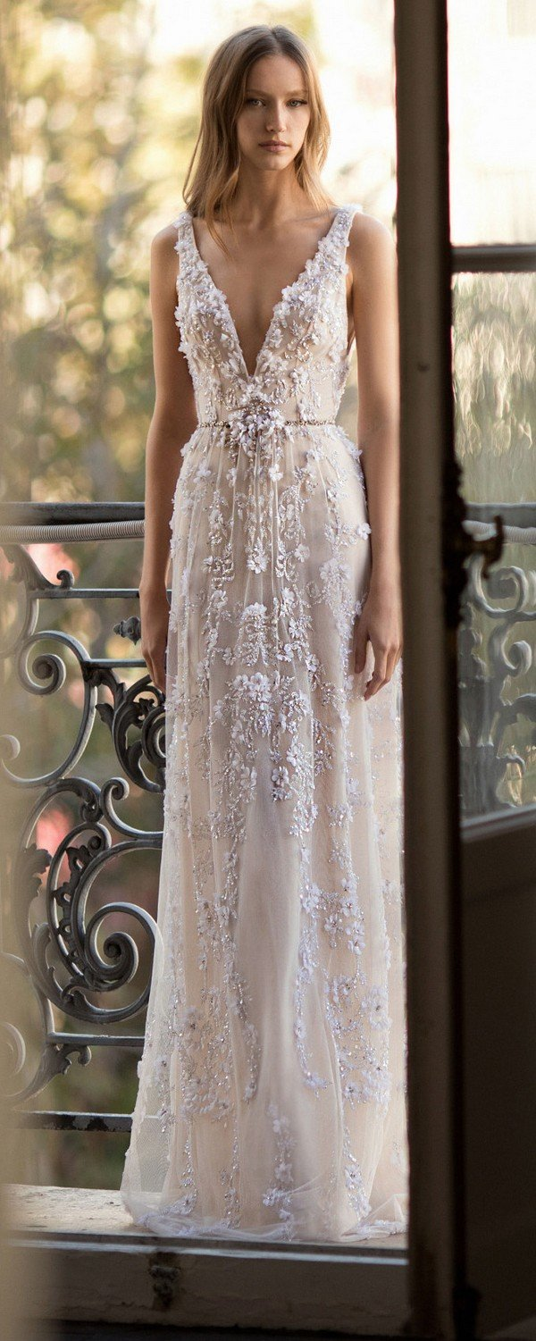 Eisen Stein Amelia v neck floral a line wedding dress 2018 collection