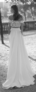 Eisen Stein Charlotte off the shoulder two pieces floral wedding dress back view