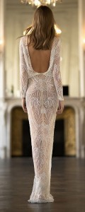 Eisen Stein Gabrielle beaded v neck wedding dress with long sleeves back view