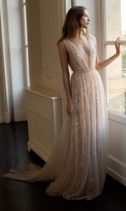 Eisen Stein Lunna deep v neck fancy blush wedding dress