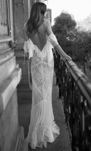 Eisen Stein Olivia off the shoulder boho lace wedding dress with open back