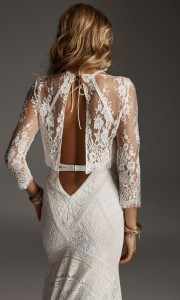 Grace Blouse stunning wedding dress back view with long lace sleeves from Rue De Seine