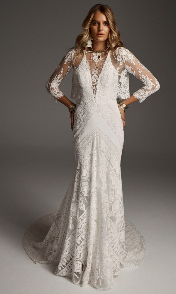 Grace Blouse stunning wedding dress with long lace sleeves from Rue De Seine