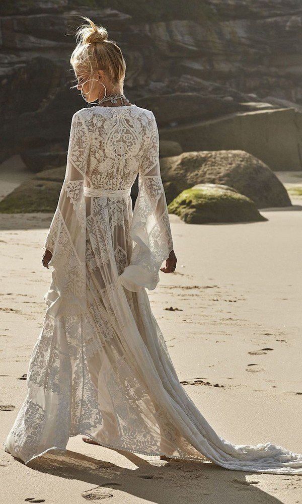 Wild Harlow v neck boho lace wedding dress back details from Rue De Seine
