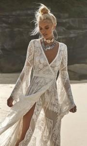 Wild Harlow v neck boho lace wedding dress from Rue De Seine