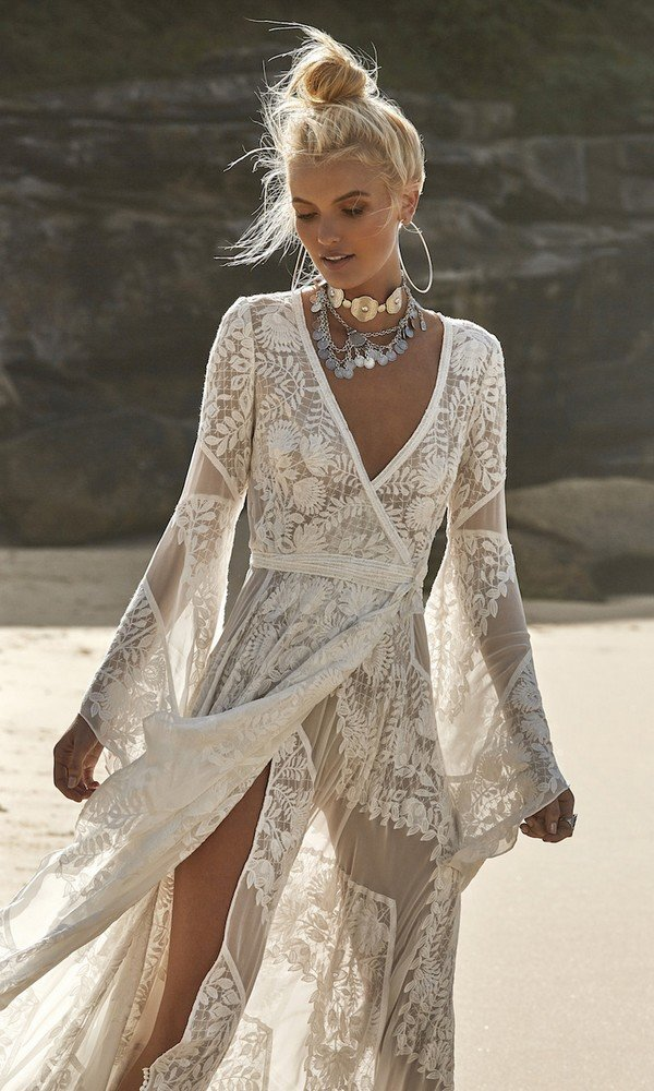 Wild Harlow v neck boho lace wedding dress from Rue De Seine