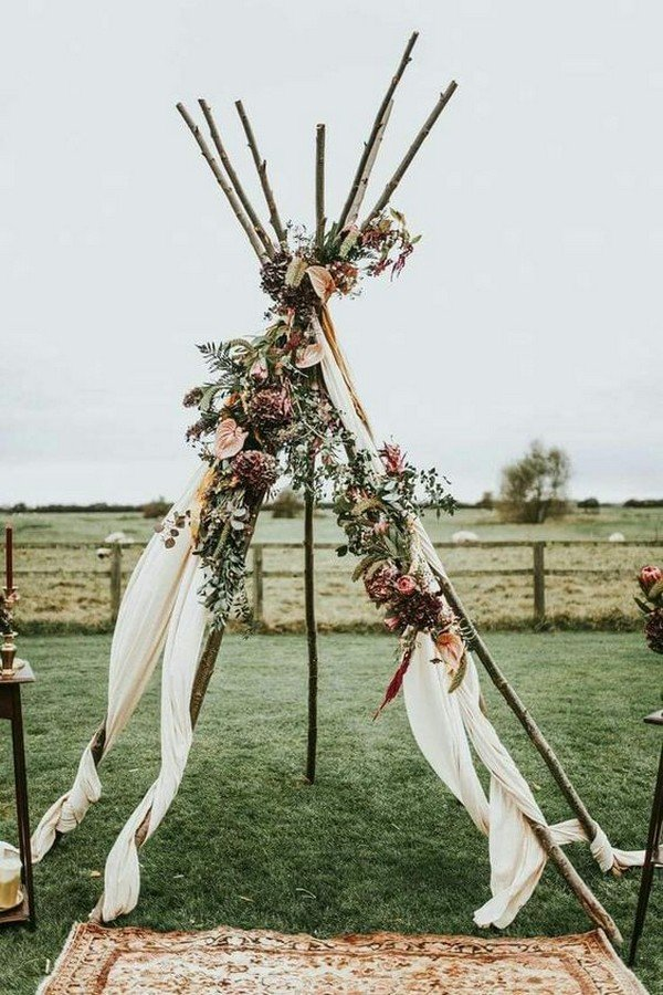 bohemian style wedding arch decoration ideas