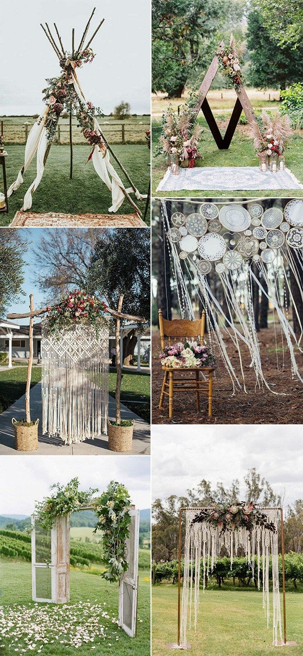boho chic outdoor wedding arches