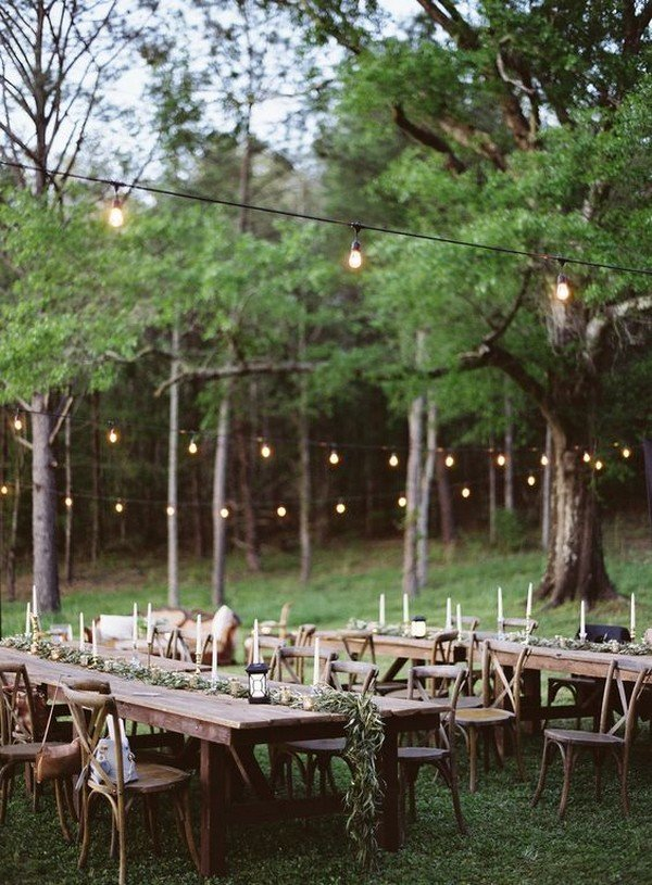 boho chic wedding reception setting ideas with string lights