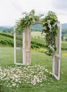 boho vintage old door wedding arch ideas