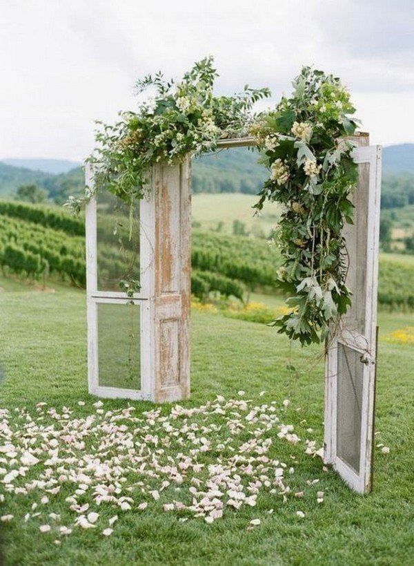 boho vintage old door wedding arch ideas