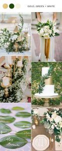 gold green and white elegant wedding color ideas