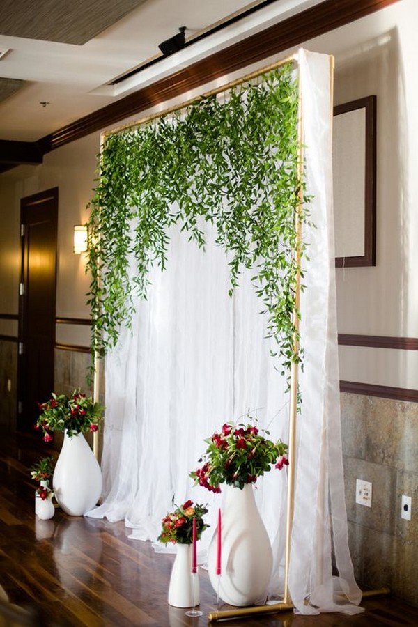 Greenery And White Wedding Backdrop Decoration Ideas