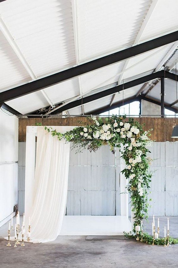 modern white and greenery wedding backdrop ideas