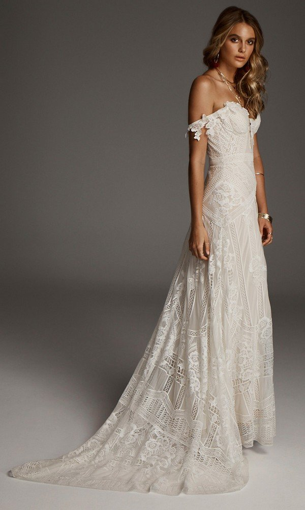 off the shoulder lace wedding dress Fox from Rue De Seine
