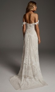 off the shoulder lace wedding dress back view Fox from Rue De Seine
