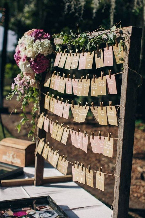 rustic wedding reception seating chart ideas