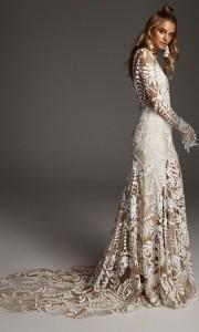 stunning Avril boho lace wedding dress from Rue De Seine detail
