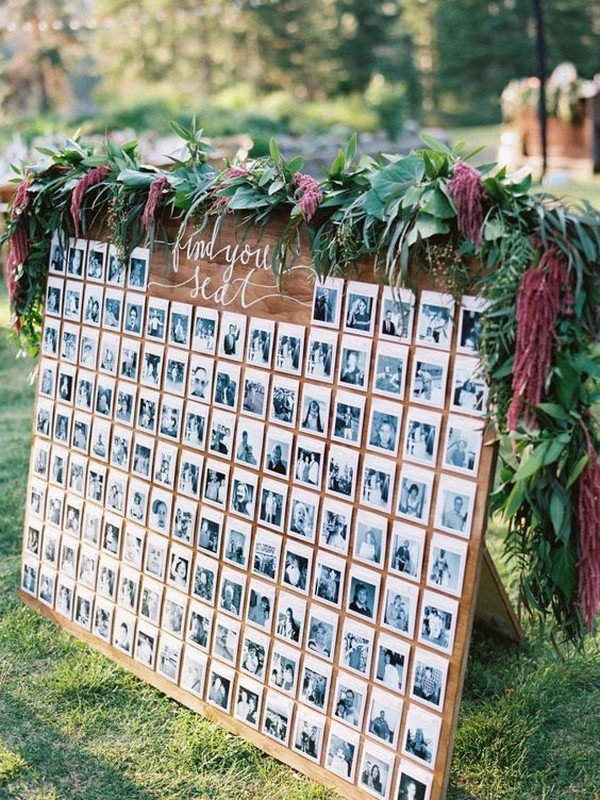unique wedding seating chart ideas with polaroid photos
