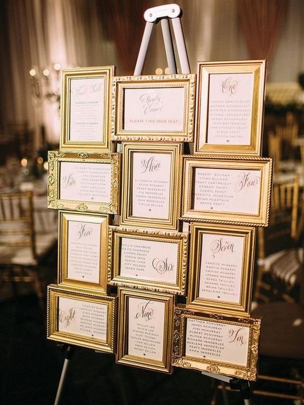 vintage gold frame wedding seating chart decoration ideas
