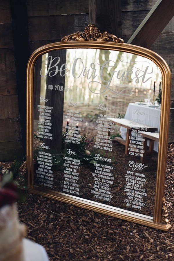 vintage mirror calligraphy seating plan table chart Beauty and The Beast