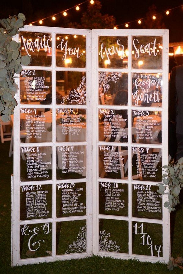 vintage old door wedding seating chart ideas