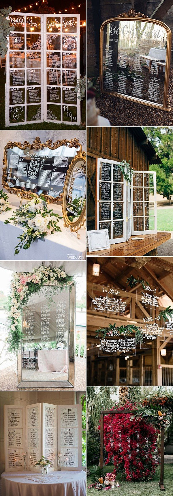 vintage wedding seating chart ideas inspired by mirrors and glasses