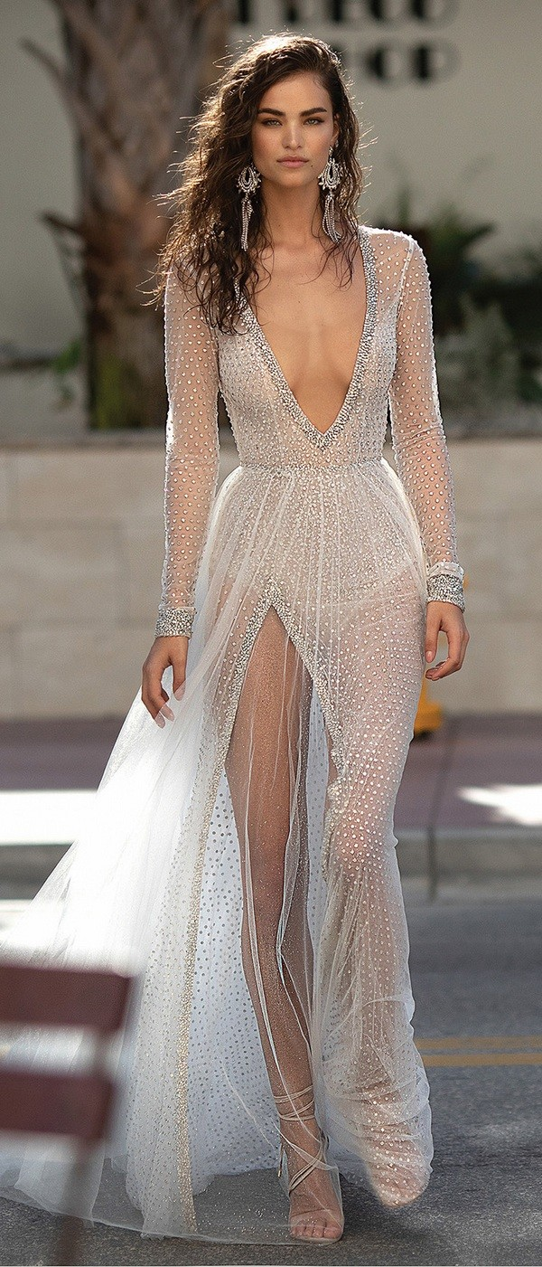 Berta beaded deep v neck wedding dress with long sleeves
