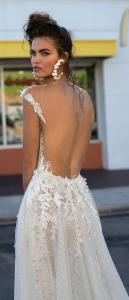 Berta floral a line wedding dress with open back 2019 collection