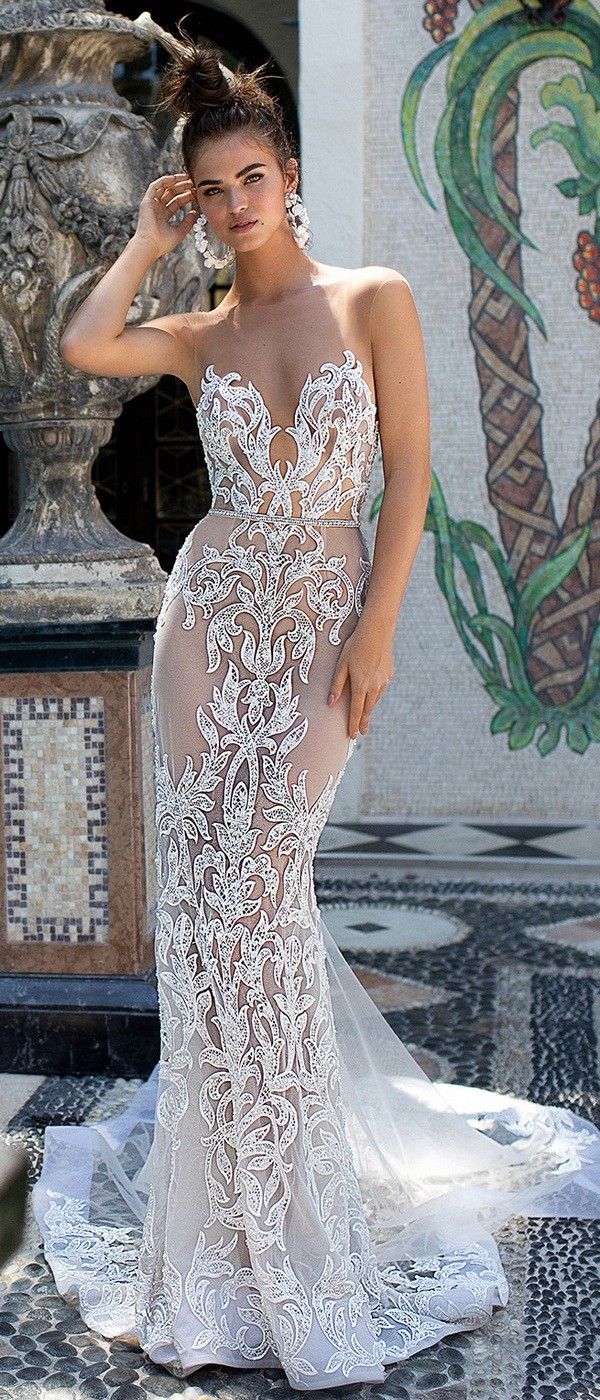 Berta illusion mermaid lace wedding dress 2019 collection