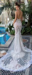 Berta illusion mermaid lace wedding dress back view 2019 collection