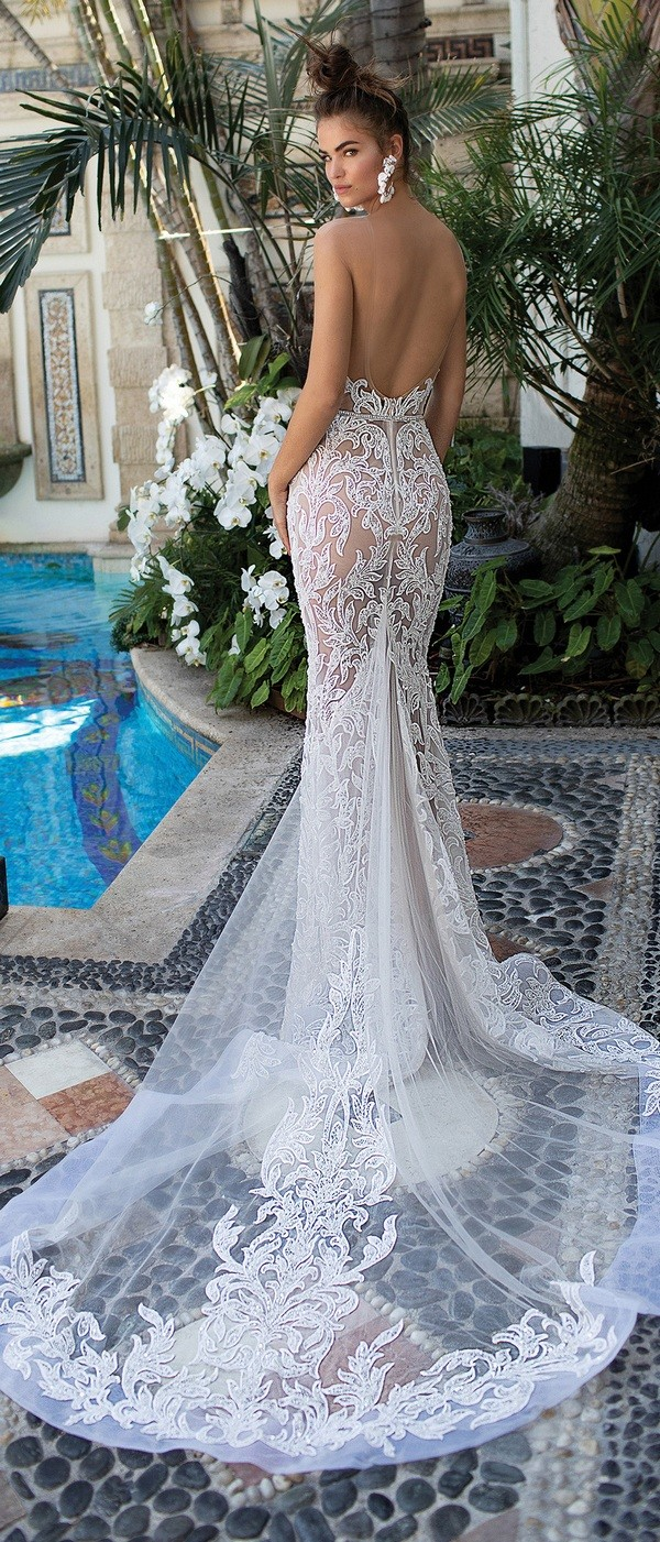 Berta illusion mermaid lace wedding dress back view 2019 collection
