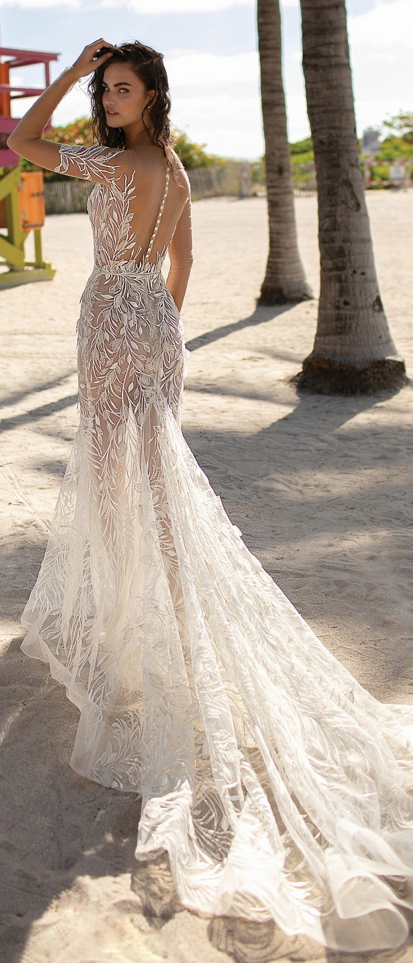 Berta illusion wedding dress with sleeves 2019 collection