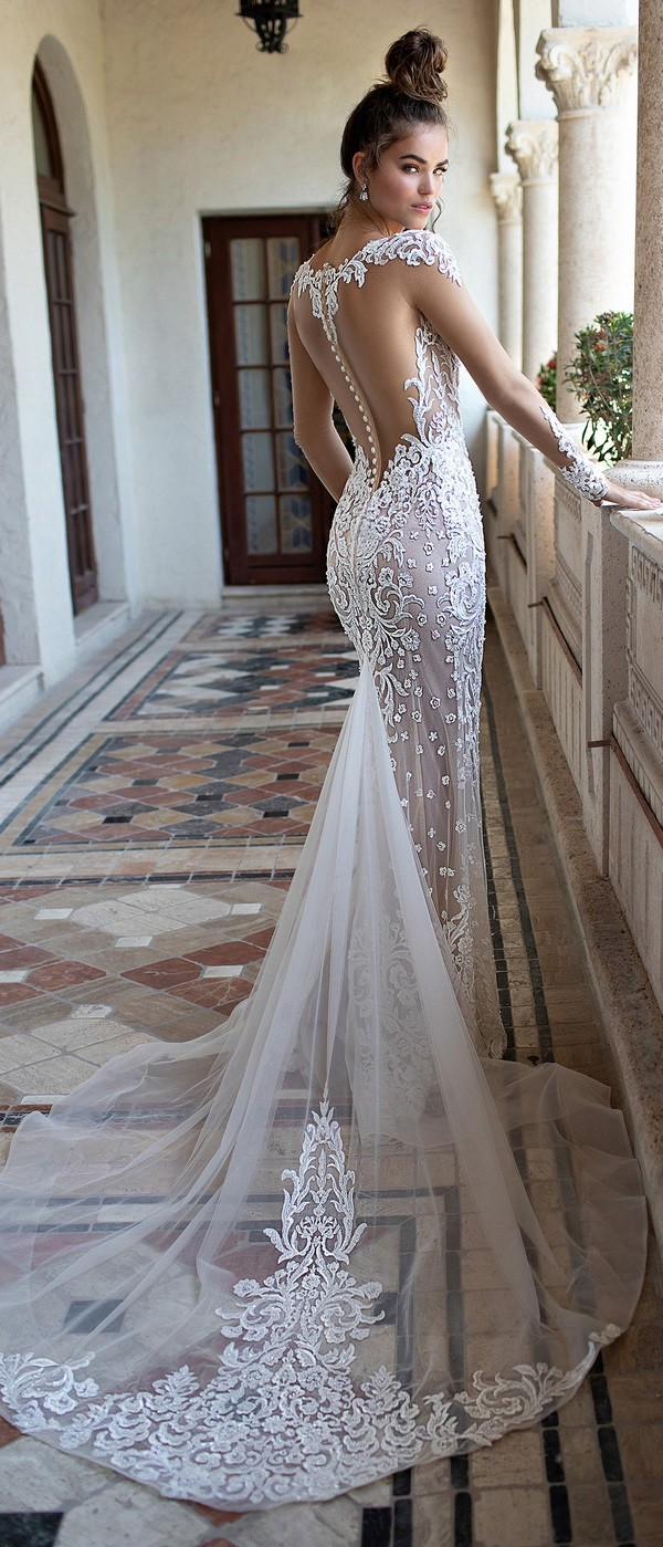 Berta mermaid lace wedding dress with long sleeves back view