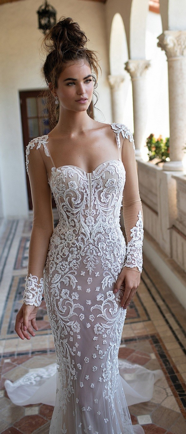 Berta mermaid lace wedding dress with long sleeves