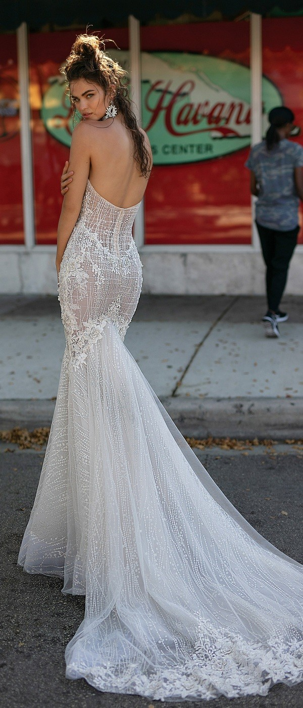 Berta mermaid sequined wedding dress with open back