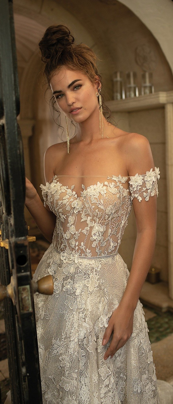Berta off the shoulder floral wedding dress for 2019