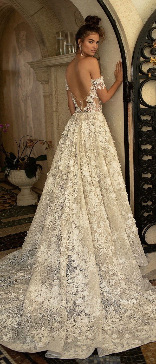 Berta off the shoulder floral wedding dress with open back for 2019