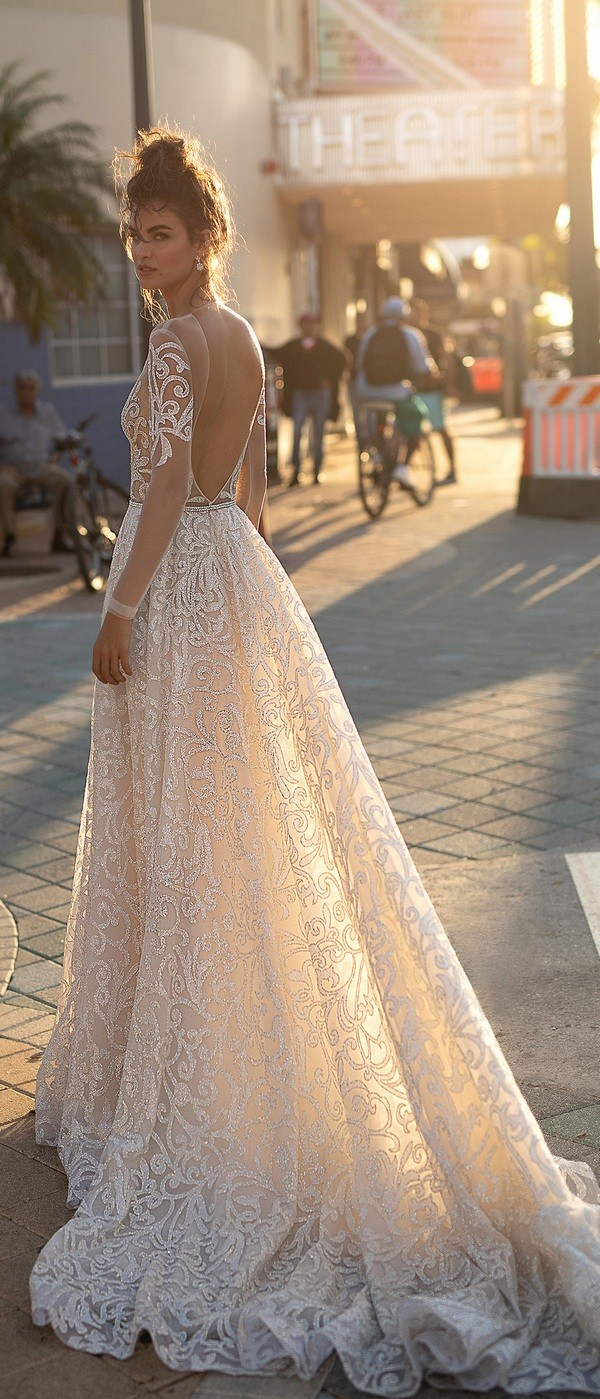 Berta sequined a line wedding dress with open back