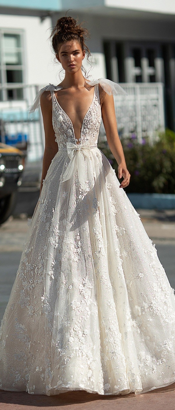 Berta v neck a line wedding dress with bows 2019 collection