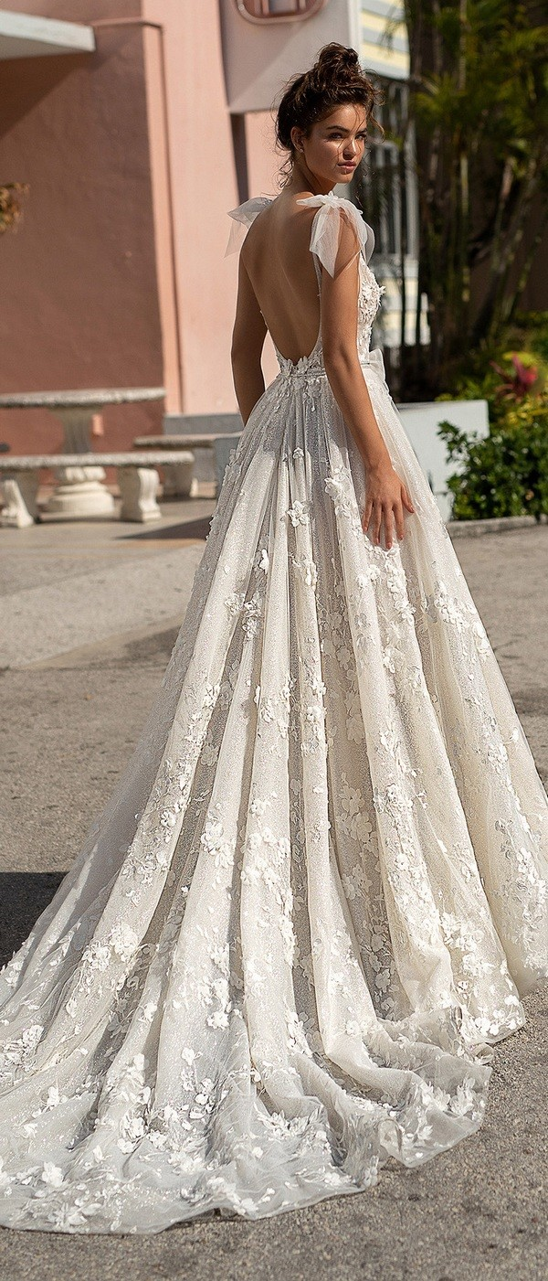 Berta v neck a line wedding dress with bows and open back 2019 collection